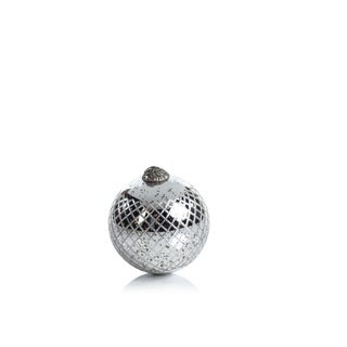 Diamond Cut Antique Silver Holiday Ball Ornaments, Set of 2