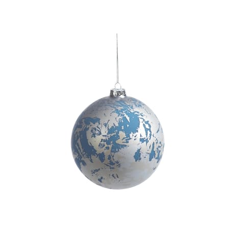 Silver and Blue Marble Ball Ornaments, Set of 4