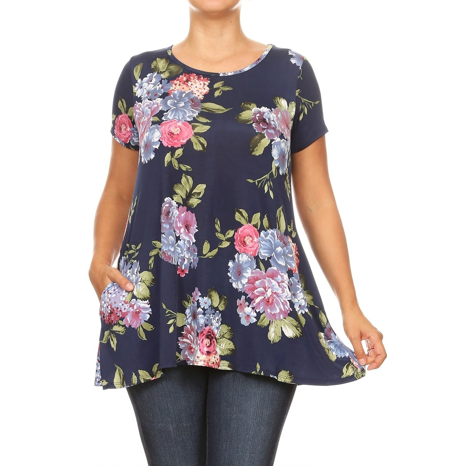 UK Plus Size Womens Short Sleeve Tops Summer Casual Ladies Floral Blouse T Shirt
