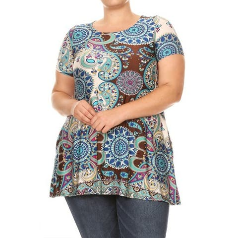 Casual Pattern Print Loose Fit Plus Size Pockets Blouse Shirt Tunic Tee Top