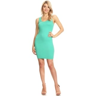 Solid Casual Basic Comfy Sexy Racer-Back Bodycon Midi Dress