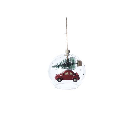 Vintage Car Clear Christmas Ball Ornaments, Set of 6