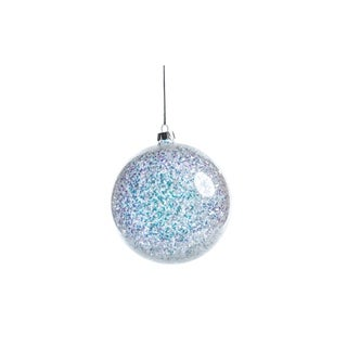 Silver and Blue Sequin Ball Ornaments, Set of 4