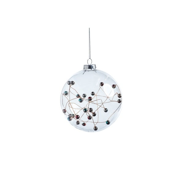 Multicolor Beaded Ball Ornaments, Set of 4
