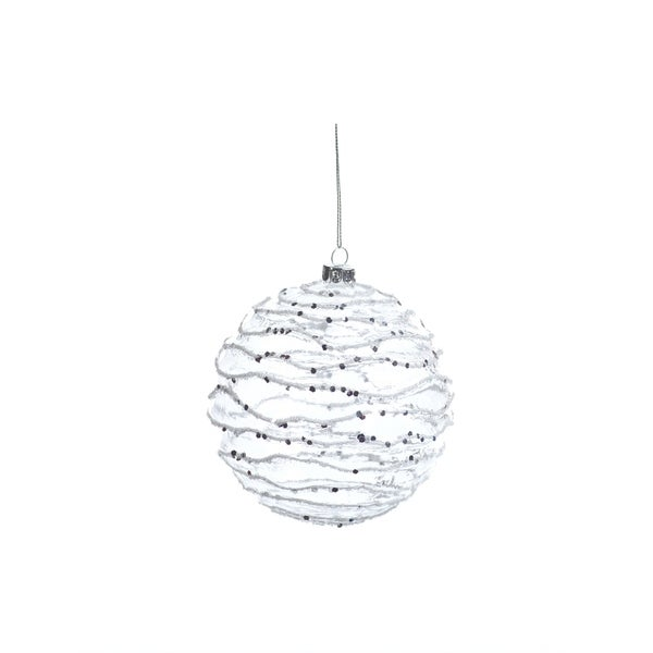 White and Silver Wave Christmas Ball Ornaments, Set of 4