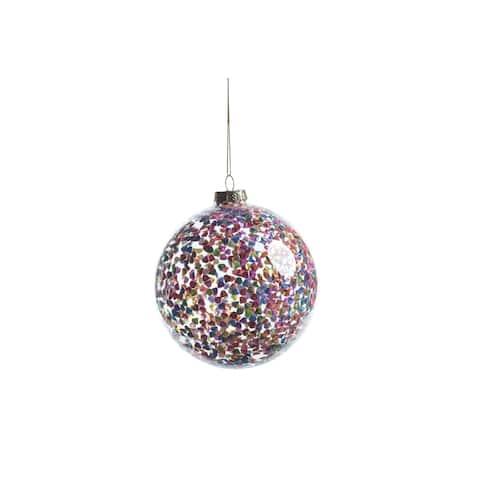 Pentagon Multicolor Sequin Ball Ornaments, Set of 4