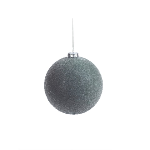 Frosted Green Beaded Christmas Ball Ornaments, Set of 4