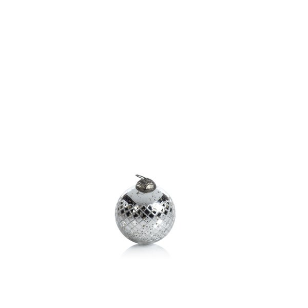 Diamond Cut Antique Silver Holiday Ball Ornaments, Set of 4