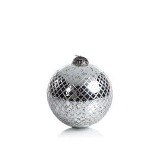 Diamond Cut Antique Silver Holiday Ball Ornament