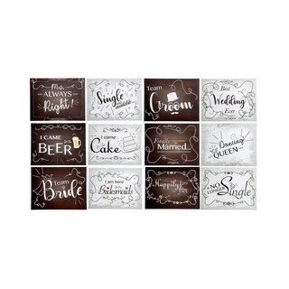 18-Pack Double Sided Vintage Design Wedding Photo Booth Party Sign Selfie Props