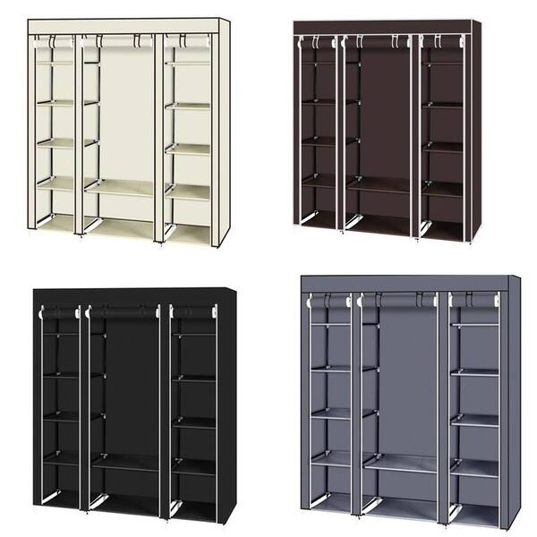 "69/"" Clothes Closet Non-Woven Fabric Wardrobe Double Rod Storage Organizer"