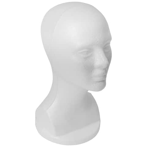 """SHANY Styrofoam Model Heads/Hat Wig Foam Mannequin 13"""" White Female Head with stand- 1 PC"""