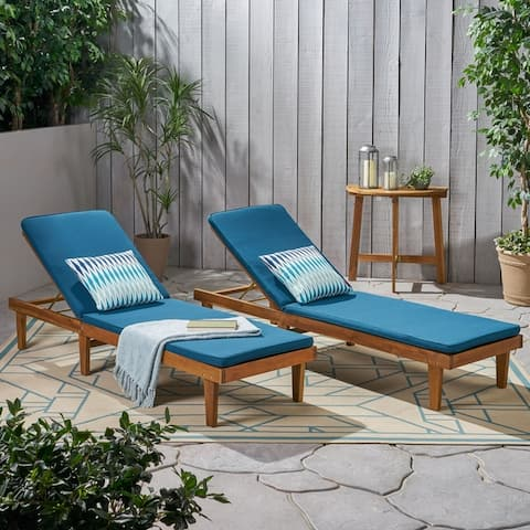 Nadine Oudoor Modern Acacia Wood Chaise Lounge with Cushion (Set of 2) by Christopher Knight Home