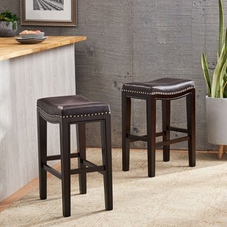 Tiffin Contemporary Studded Fabric Counter Stool (Set of 2) by Christopher Knight Home