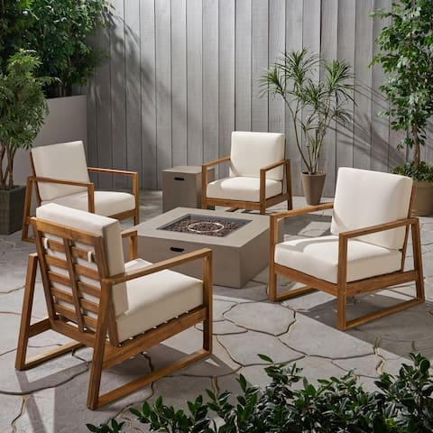 Belgian Outdoor 4 Seater Chat Set with Fire Pit by Christopher Knight Home