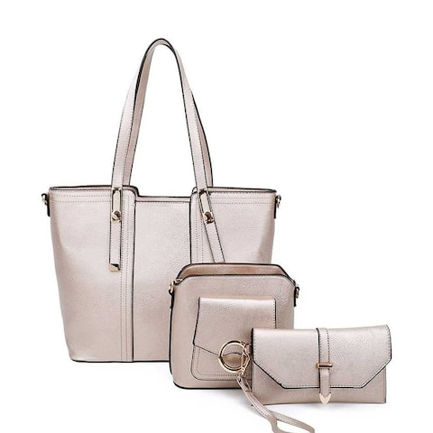 Dasein Faux Leather 3-in-1 Tote Set w/ Front Belted Strap, Crossbody Bag & Waristlet