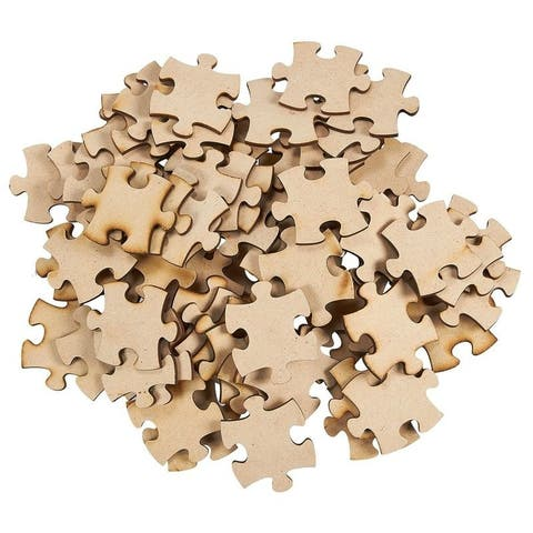 100 PCS Freeform Blank Puzzle Wood Wooden Jigsaw Puzzles for DIY Crafts