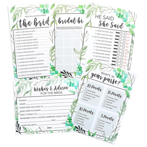 Rustic Boho Bridal Shower Wedding Party Supplies, Set of 5 Games, 50 Cards Each