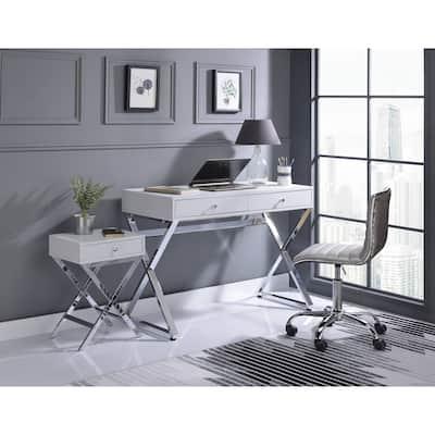 ACME Coleen Desk in White & Chrome