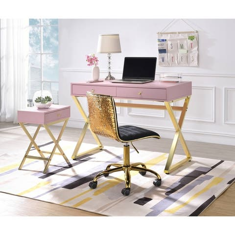 ACME Coleen Desk in Pink & Gold
