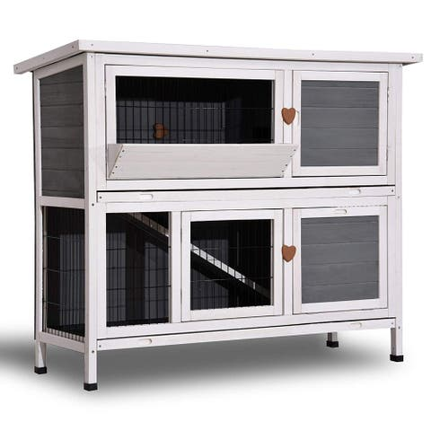 Lovupet 2 Story Outdoor Wooden Rabbit Hutch Chicken Coop Bunny Cage Guinea Pig House with Ladder for Small Animals