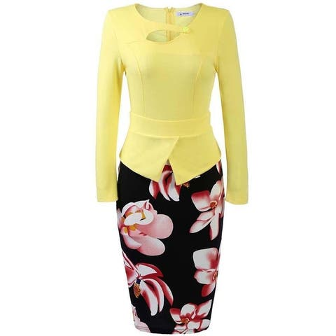 Angvns Women 3/4 Sleeve Patchwork Pencil Dress Peplum Print Package Hip OL Party Dress
