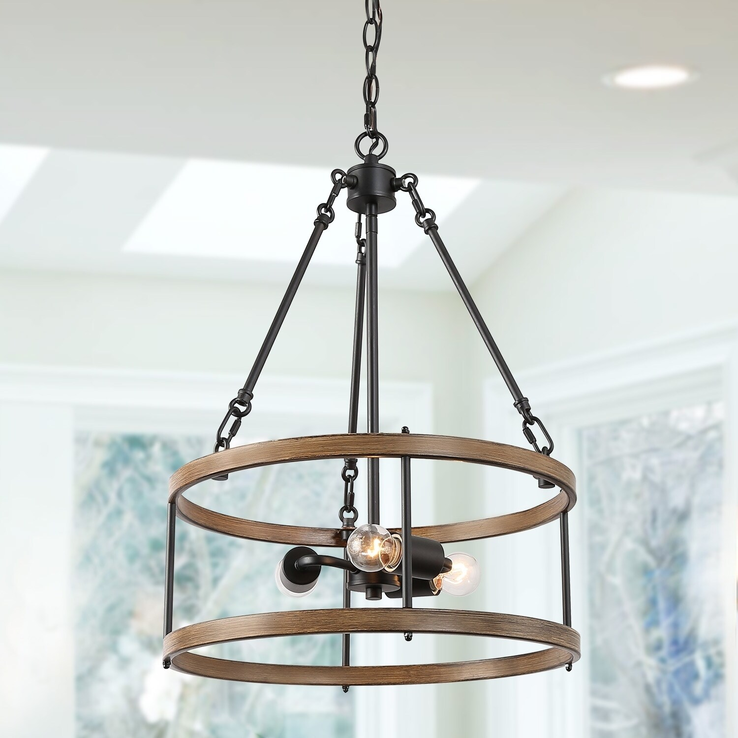 Farmhouse Kitchen Lighting With Drum Frame Mini Chnadelier N A