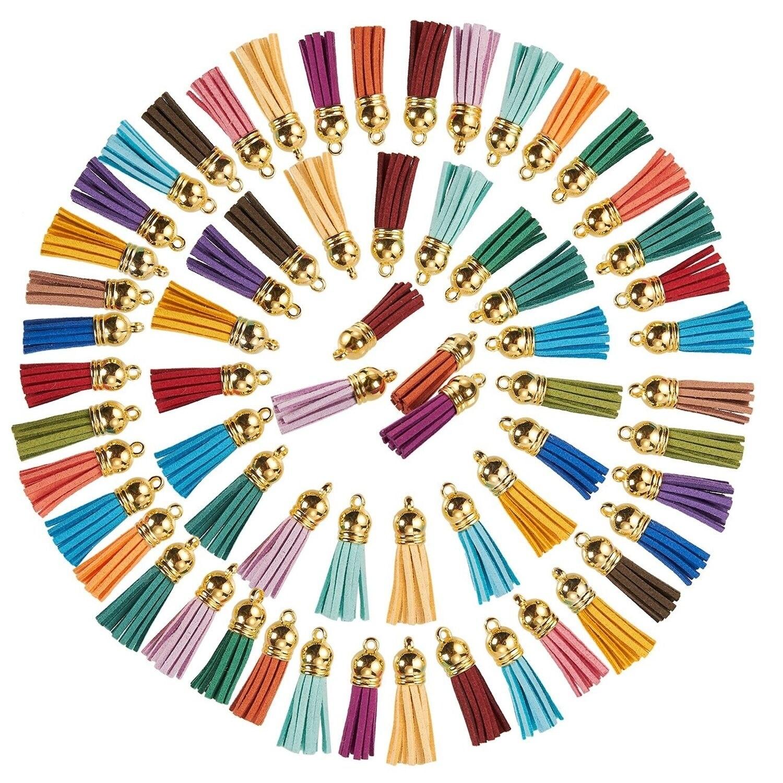 earring necklace leather velvet macrame pendant charm AT23 100pcs 60mm length multicolor faux suede tassel silver color plastic flat cap