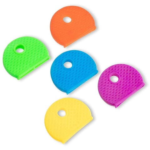 100-Pack Multi Colors Key ID Label Covers Rubber Key Cap Tags Identifier Caps