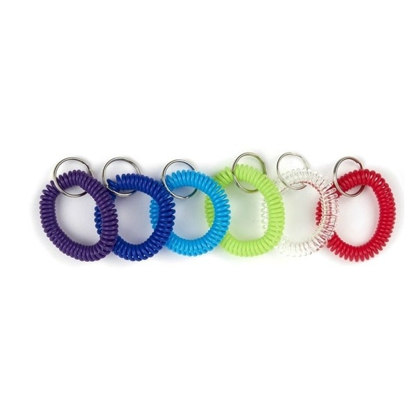Lot of 24 Spiral Wrist Coil Keychain with Split Key Ring Elastic 6 Colors New