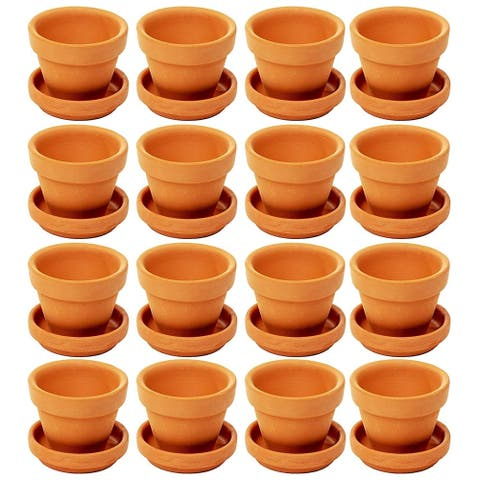 Juvale Mini Terra Cotta Pots with Saucer- 16-Pack Clay Flower Pots with Saucers