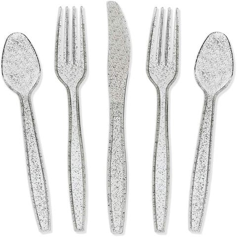 Juvale Silver Glitter Plastic Cutlery Set of 32 Forks Knives and Spoons (Silver)