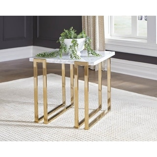 Pirell Italian White Marble Top Rectangle End Table