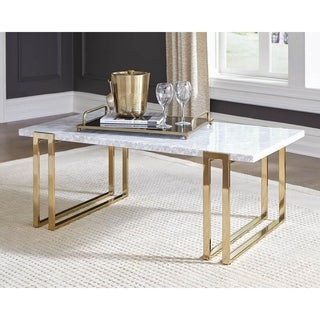 Trisha Italian White Marble Top Rectangle Coffee Table
