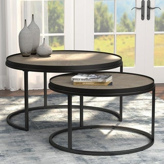 Carbon Loft Gigliotti Weathered Elm Round Nesting Table