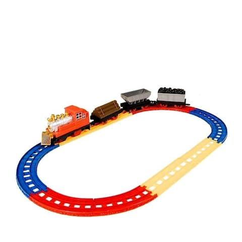 12-Piece Railroad Train Set Car Track Playset Educational Toy for Kids Children