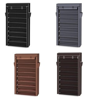 10 Tiers Shoe Rack Dustproof Cover ClosetStorage Cabinet Organizer - N/A