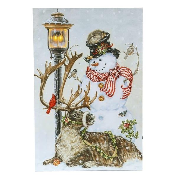 Shop Winter Wonderland Snowman And Reindeer Canvas Print