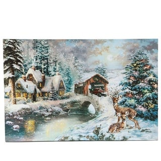 Winter Wonderland Thru the Woods Truck Canvas Print with LED Lights