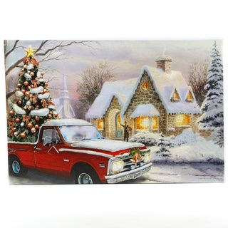 Winter Wonderland Holiday Truck Canvas Print with LED Lights