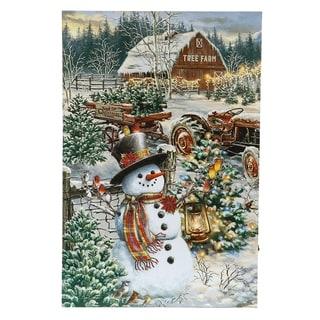 Winter Wonderland Christmas Tree Farm Canvas Print with LED Lights