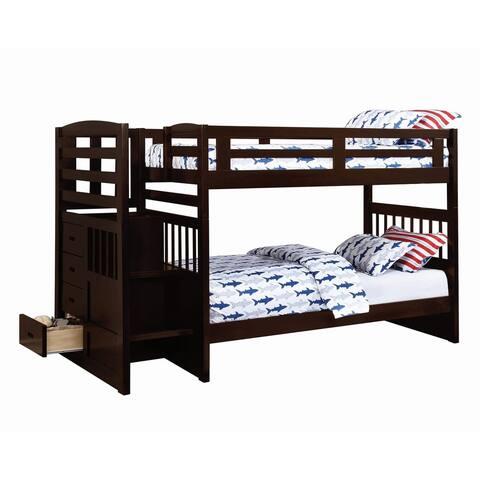 Lorna Cappuccino Twin/Twin 4-Drawer Storage Bunk Bed