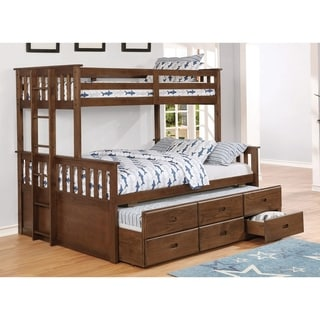 Otis Weathered Walnut Bunk Bed with Storage Trundle
