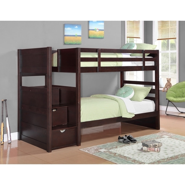 Blandford Cappuccino Twin/Twin 3-Drawer Storage Bunk Bed