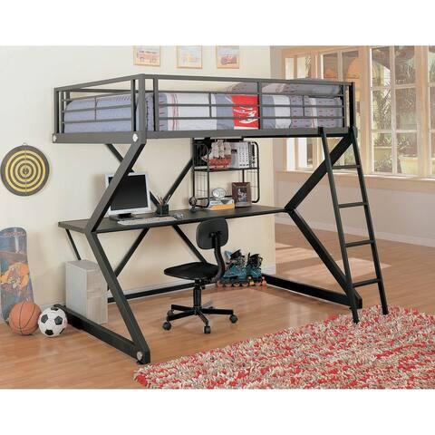 Romero Black Full Geometric Z-frame Workstation Loft Bed