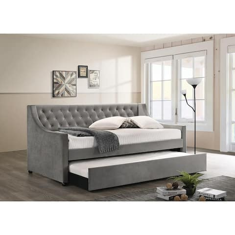 Chatham Grey Twin Tufted Upholstered Daybed with Trundle