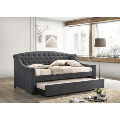 Copper Grove Milenge Dark Grey Twin Upholstered Tufted Daybed with Trundle