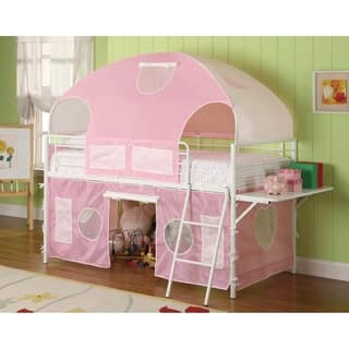 Linders White and Pink Twin Tent Loft Bed with Ladder