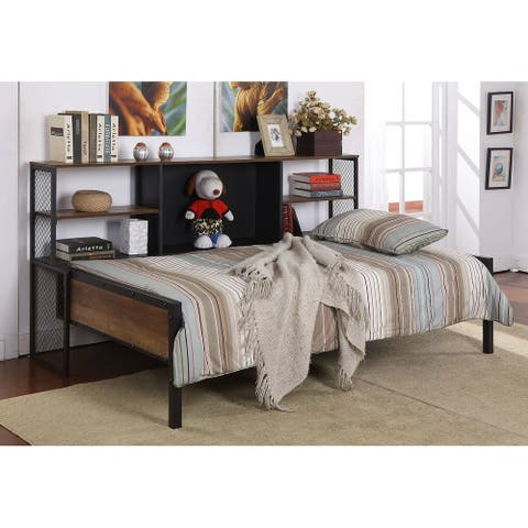 Conley Matte Black and Chestnut Twin Daybed with 5-shelf Bookcase
