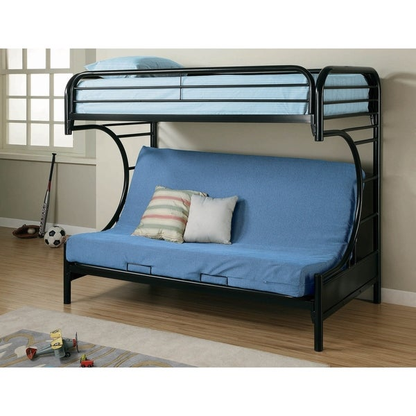 Kenston Twin/Futon Bunk Bed with Wave-inspired Frame